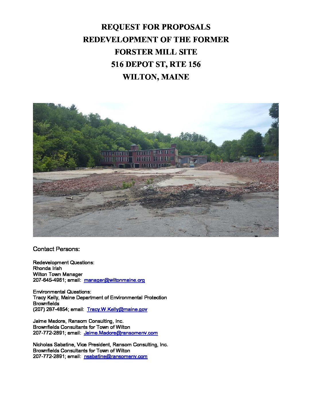 Wilton Former Forster Mill Site RFP Aug 2018 - Town of